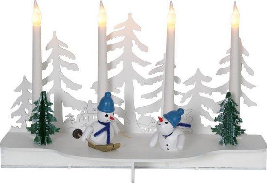 "STAR TRADING LED Fensterleuchter »LED Fensterleuchter ""Snowy"" - Schneemänner - Holz - 4 warmweiße LED - H: 19cm - Batteriebetrieb«"
