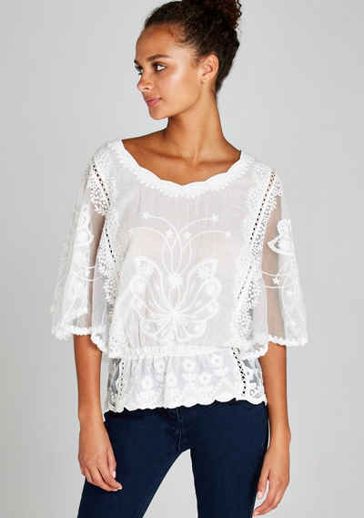 Apricot Blusentop »Embroidered Batwing Peplum Top« (1-tlg) mit toller Stickerei