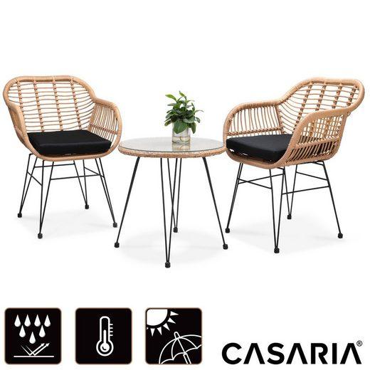 Casaria Balkonset »Bali«, (3-tlg), Modernes, natürliches Bambus Design • pulverbeschichtetes Stahlgestell • UV-beständiges, handgewobenes Polyrattan • 2 gemütliche Korbsessel mit 5cm dicker Sitzauflage • hohe Belastbarkeit • Tisch mit 5mm starker Sicherheitsglasplatte • abnehmbare, waschbare Bezüge • sehr pflegeleicht