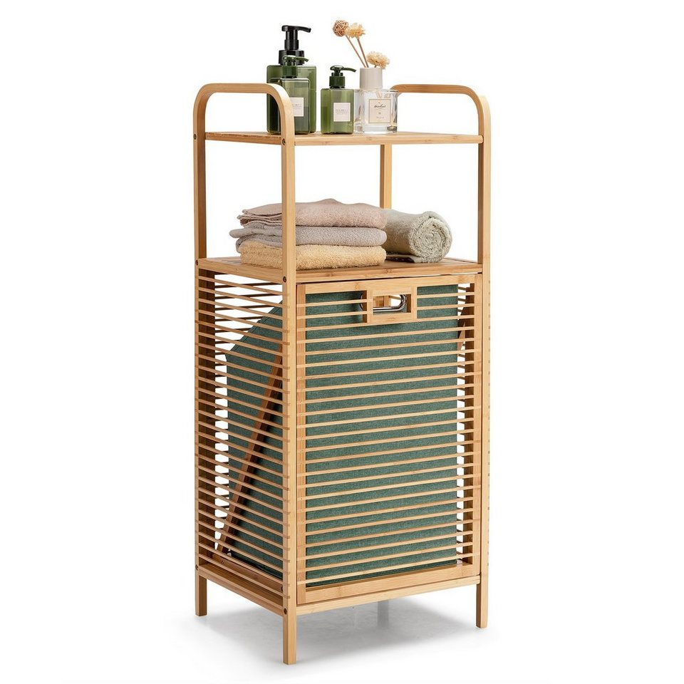 COSTWAY Badregal »Korbregal Badezimmer Regal«, mit Wäschekorb, 20 offenen  Regalfächern und Griff, aus Bambus online kaufen   OTTO