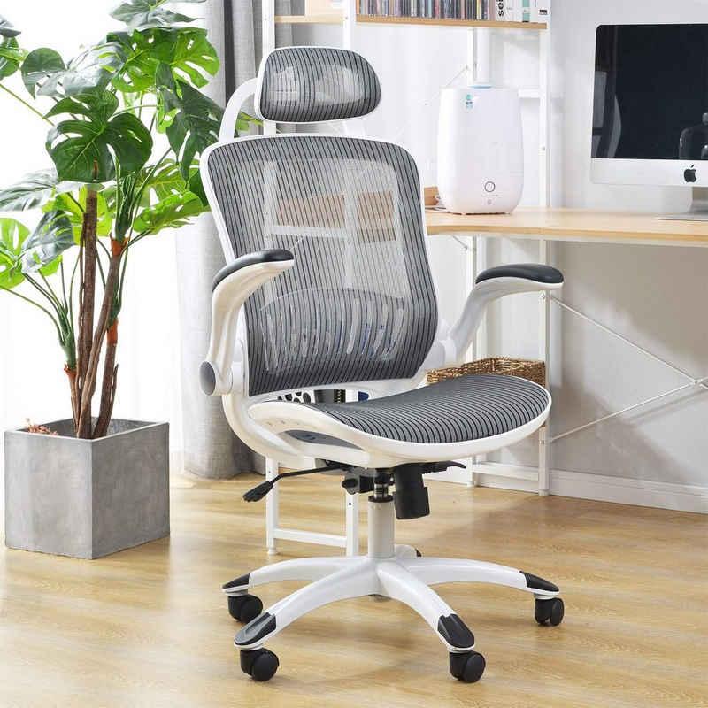 Merax Chefsessel »LivingSuper« (Packung), Drehstuhl 360 °, Bürostuhl aus Mesh mit hoher Rückenlehne und verstellbarer Kopfstütze und Armlehne, belastbar bis 110 kg