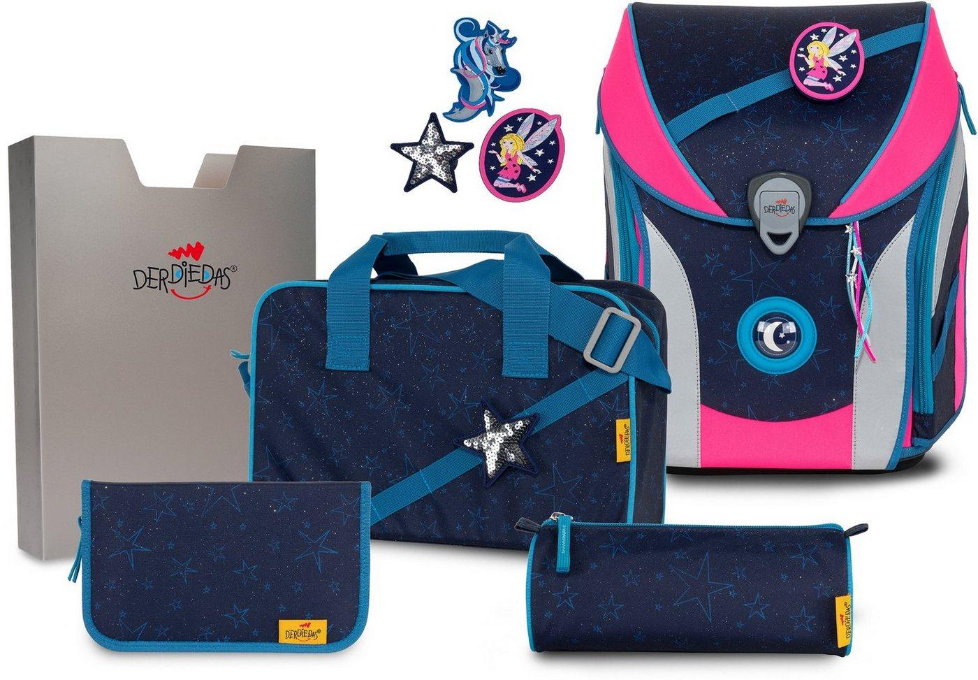 derdiedas® -  Schulranzen »ErgoFlex MAX Buttons - Blue Fair« (Set), mit 3 Buttons