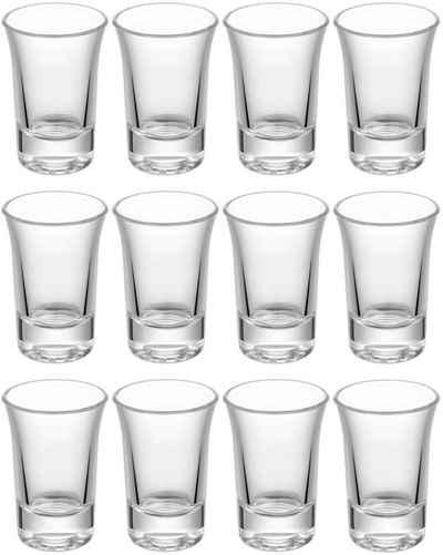 Praknu Schnapsglas »12 Schnapsgläser Glas Set Shotgläser«, Glas, Standfest - Spülmaschinenfest - Pinnchen Gläser für Tequila Wodka