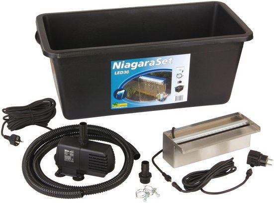 Ubbink Wasserfall »Niagara 30 LED«, 30 cm Breite, (Set, Wasserfall mit 20 LEDs; Pumpe: 2.300 l/h, 2-m-Schlauch; Becken: 65 l)