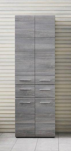 trendteam Hochschrank »Skin« Höhe 182 cm, Badezimmerschrank mit Fronten in Hochglanz- oder Holzoptik, mit zwei Schubkästen