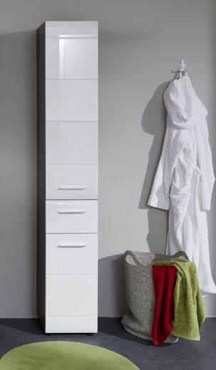 trendteam Hochschrank »Skin« Höhe 182 cm, Badezimmerschrank mit Fronten in Hochglanz- oder Holzoptik, mit Schubkasten