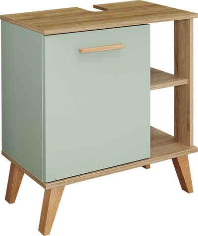 PELIPAL Waschbeckenunterschrank »Quickset 963« Breite 60 cm, seitliche offenes Regal, Holzgriff, Türdämpfer