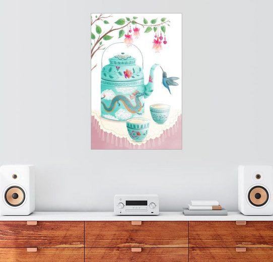 Posterlounge Wandbild, Premium-Poster Kolibri am Teeservice