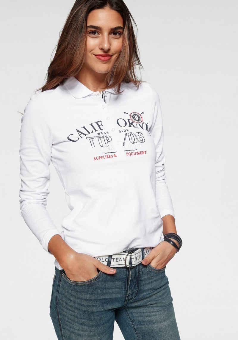 TOM TAILOR Polo Team Langarm-Poloshirt mit aufwendigen Details