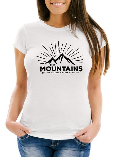 MoonWorks Print-Shirt »Damen T-Shirt The Mountains are Calling and I must go Wandern Berge Moonworks®« mit Print