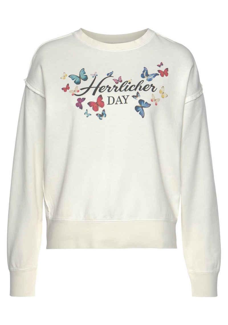 Herrlicher Sweatshirt »CARRIE« mit Multicolor-Butterfly-Print vorn