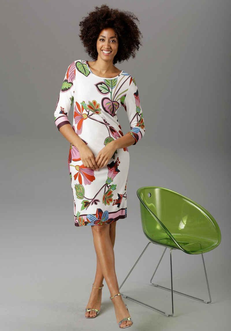 Aniston SELECTED Jerseykleid mit gestreiften Abschlüssen
