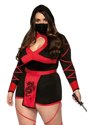 24costumes Kostüm »Dragon Ninja + - Groesse: 3X-4X - Farbe: Black, Red«