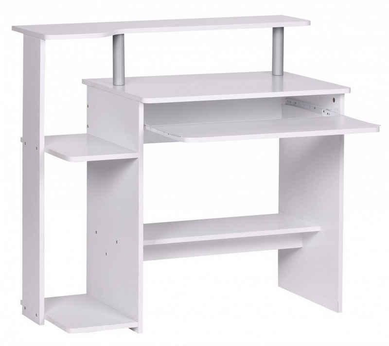 Wohnling Schreibtisch »WL1.153«, Computertisch Weiß 94x90,5x48,5 cm Laptop Tisch Modern mit Tastaturauszug PC-Tisch mit Drucker-Ablage platzsparend für kleine Räume mit Ablage Laptoptisch Klein