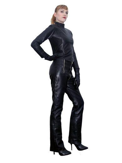 Fetish-Design Lederhose »Lederhose Kim Schwarz Schrittreißverschluß Echtes Leder« Schrittreißverschluss