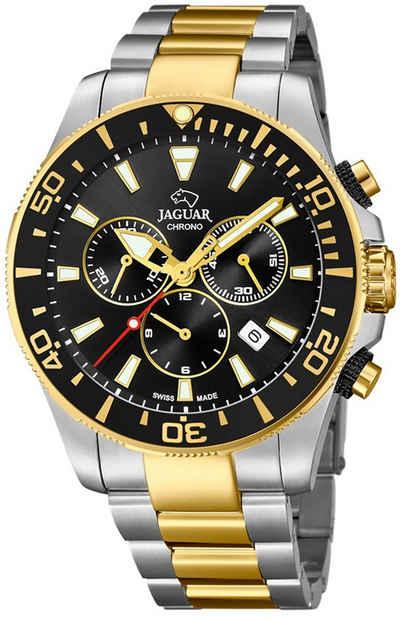 Jaguar Chronograph »UJ862/2 Jaguar Herren Uhr J862/2 Edelstahl«, (Chronograph), Herren Armbanduhr rund, groß (ca. 44mm), Edelstahlarmband silber, gold