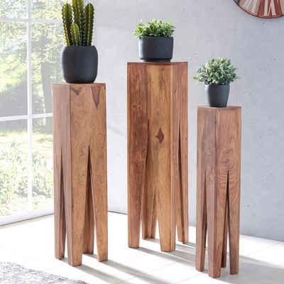 FINEBUY Satztisch »SuVa2514_1«, Beistelltisch 3er Set Massivholz Wohnzimmertisch Design Säulen Landhaus Couchtisch quadratisch (FSC® Mix)
