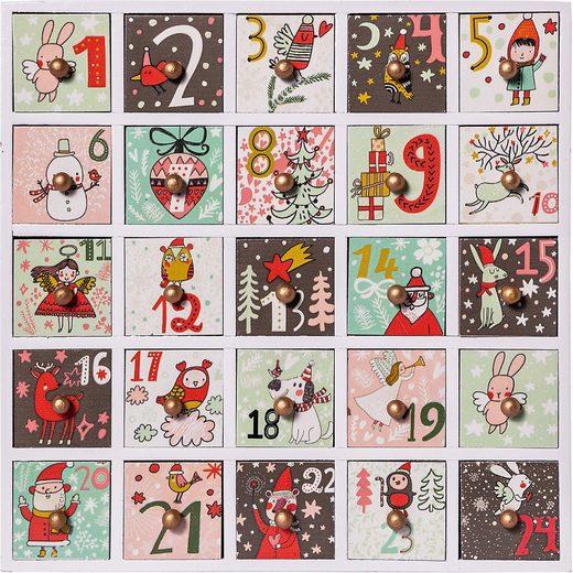 Hotex Wandkalender »Adventskalender aus Holz mit Schubladen«