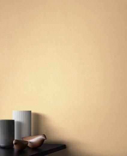 Newroom Vliestapete, Gold Tapete Modern Unifarbe - Einfarbig Leinenoptik Uni Schlicht Leinen Struktur für Wohnzimmer Schlafzimmer Küche