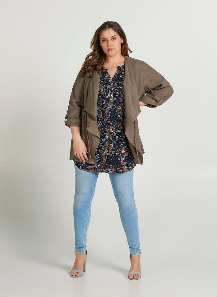 zizzi -  Cardigan Große Größen Damen Cardigan mit langen Ärmeln und justierbarer Taille