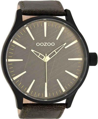 OOZOO Chronograph »UOC7863 Oozoo Armbanduhr Herren schwarz«, (Analoguhr), Herren Armbanduhr rund, Lederarmband braun, Fashion