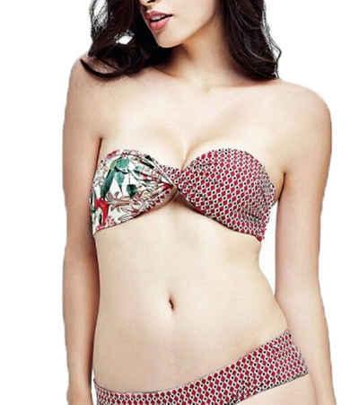 Guess Bügel-Bikini-Top »GUESS Wende-Bandeau-Bikini extravagantes Damen Bade-Top mit Blumen-Muster Schwimm-Oberteil Rot«
