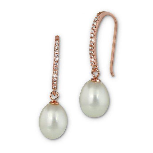 SilberDream Paar Ohrhänger »SDO1719WE SilberDream Ohrringe für Damen 925er« (Ohrhänger), Damen Ohrhänger aus 925 Sterling Silber, vergoldet (Roségold 333), Farbe: rose, weiß