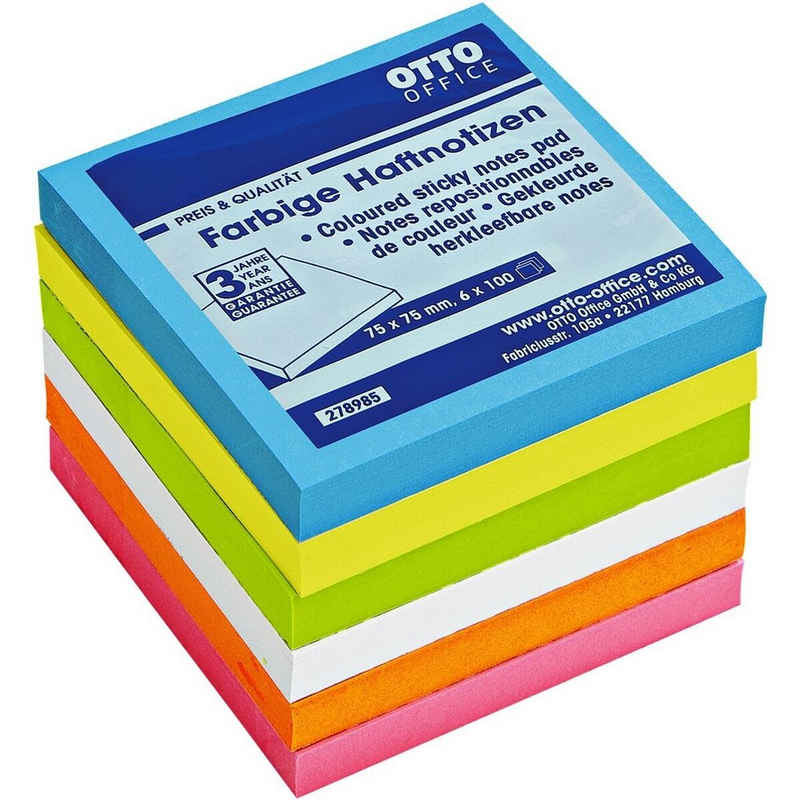 Otto Office Haftnotizblock, 7,5x7,5 cm, in Neonfarben mit extrastarker Haftung
