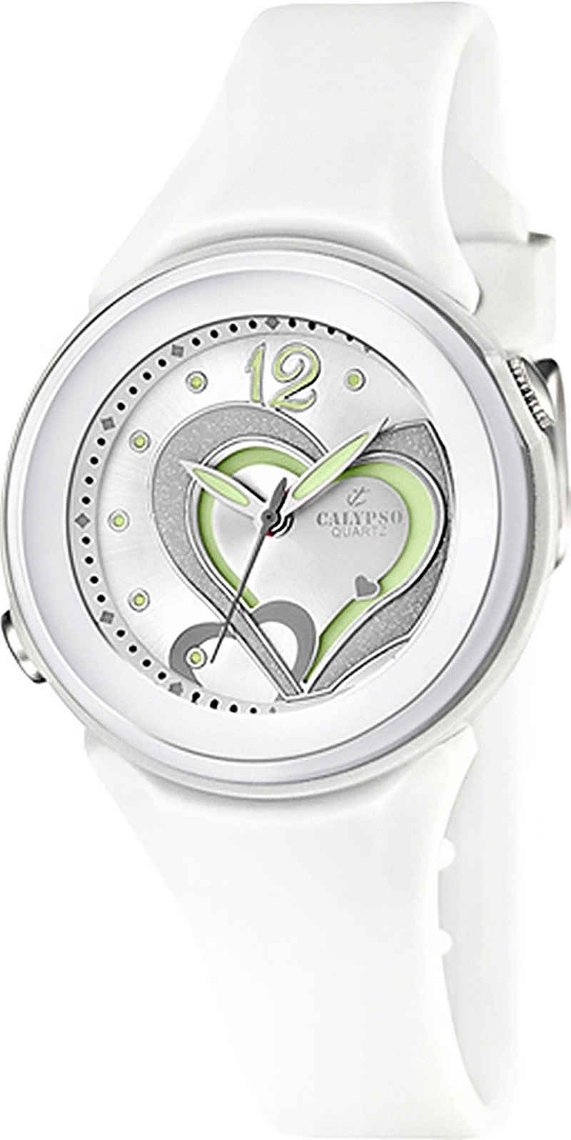 CALYPSO WATCHES Quarzuhr »UK5576/1 Calypso Damen Uhr K5576/1Kunststoffband«, (Analoguhr), Damen Armbanduhr rund, PURarmband weiß, Fashion
