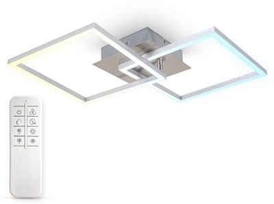 B.K.Licht Deckenleuchten, 27 Watt LED Frame, CCT Farbtemperatursteuerung, dimmbar, schwenkbar, Timer, Nachtlicht, Fernbedienung, Memoryfunktion