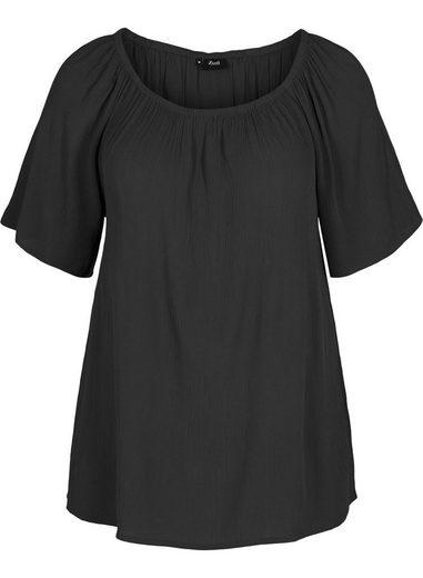 Zizzi Kurzarmbluse Große Größen Damen Kurzarm Crepe Bluse mit Rundhals und Gummizug