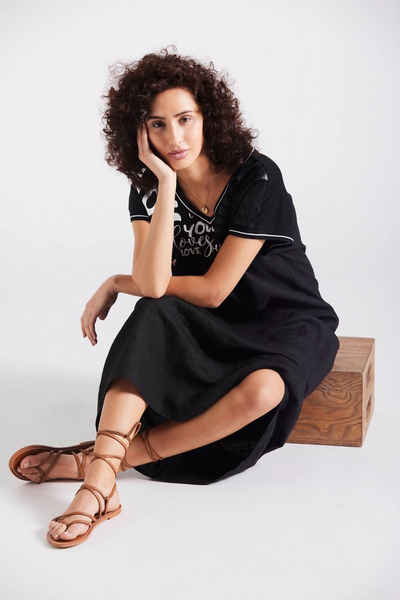 Andijamo-Fashion Maxikleid »LOVE LEINEN« Leinenkleid mit Print, casual