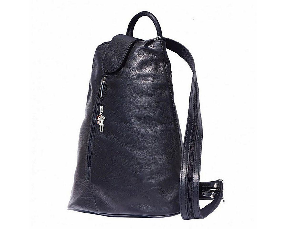 florence -  Cityrucksack »OTF601X  Damen Schultertasche Rucksack«, Damen Rucksack, Tasche, Echtleder schwarz