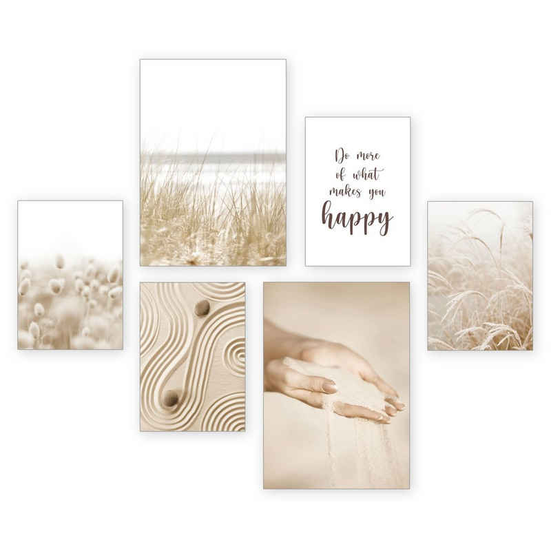 Kreative Feder Poster »Sand«, Strand (Set, 6 Stück), 6-teiliges Poster-Set, Kunstdruck, Wandbild, Posterwand, Bilderwand, optional mit Rahmen, WP502