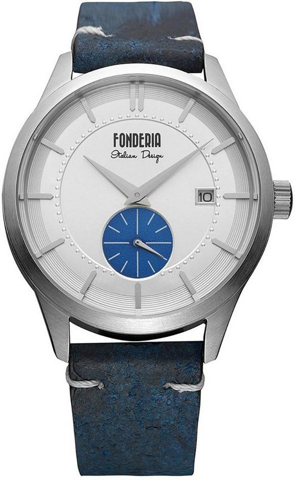 fonderia -  Chronograph »UAP6A009USB  Herren Uhr P-6A009USB Leder«, (Analoguhr), Herren Armbanduhr rund, groß (ca. 41mm), Lederarmband blau