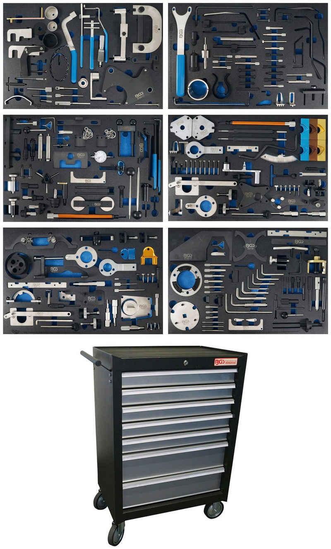 BGS Werkstattwagen, befüllt, (233-tlg), 7 Schubladen, Motor-Einstellwerkzeug-Sätze