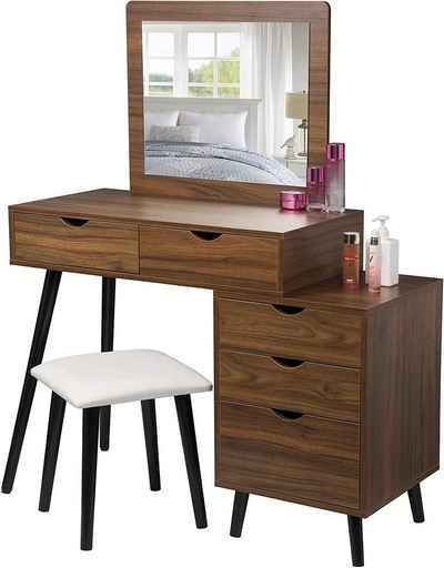 Woltu Schminktisch »MB6059« (1-St), Schminkkommode Frisiertisch mit Hocker und Spiegel, Kosmetiktisch mit 2 Schubladen und einem Nachttisch, Dunkelbuche