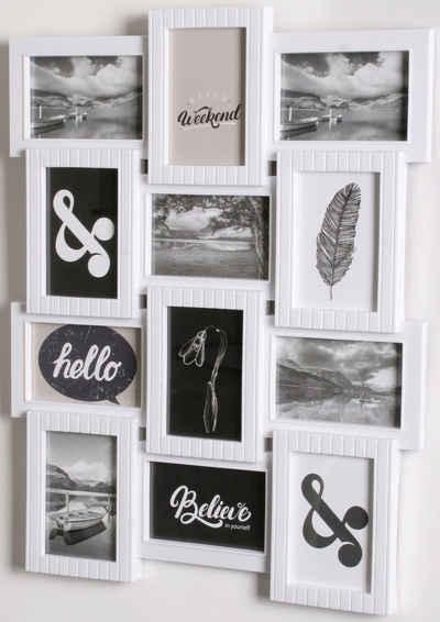 Home affaire Bilderrahmen Collage, für 12 Bilder (1 Stück), Fotorahmen, weiß
