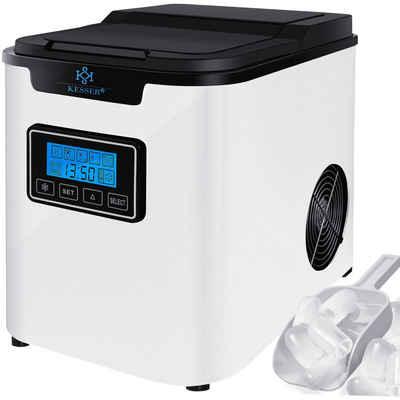 KESSER Eiswürfelmaschine, Eiswürfelbereiter Edelstahl 150W Ice Maker 12 kg 24 h 3 Würfelgrößen Zubereitung in 6 min 2,2 Liter Wassertank Timer LCD-Display Selbstreinigungsfunktion