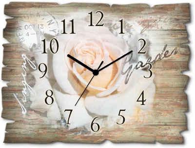 Artland Wanduhr »In Buchstaben - Rose« (lautlos, ohne Tickgeräusche, nicht tickend, geräuschlos - wählbar: Funkuhr o. Quarzuhr, moderne Uhr für Wohnzimmer, Küche etc. - Stil: modern)