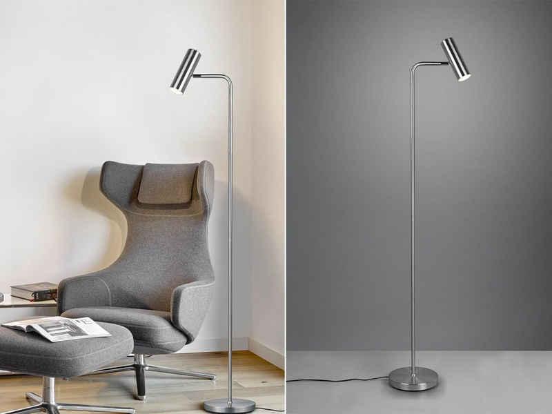 meineWunschleuchte LED Stehlampe, Steh-Leuchte schmal hoch zum lesen - LED stufenweise dimmbar - Silber, Leselampe hinter Sofa, minimalistisch