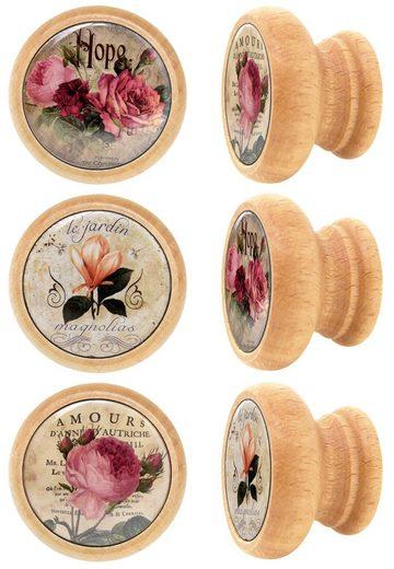 Lashuma Möbelgriff »Blumen« (Spar-Set, 6-St), Schrankgriffe Holz mit Blumen-Motiv, Schubladengriffe 4 cm Ø
