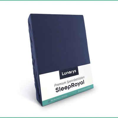 Spannbettlaken »SleepRoyal«, Lunarys, Spannbettlaken 120x200 cm, dunkelblau, Spannbettlaken für Boxspringbetten / Topper / Wasserbetten und alle Matratzen-Typen, 250 g/m² dicker Stoff, blickdicht, kuschelig weich, hochwertiges Bettlaken aus Baumwolle + Elasthan, Stretch Jersey, schwere und dicke Qualität, Luxus Stretch-Jersey, Premium Spannlaken, 40 cm Steghöhe für extra hohe Matratzen, perfekte Passform, festes Rundumgummi, faltenfrei, bügelfrei, trocknergeeignet