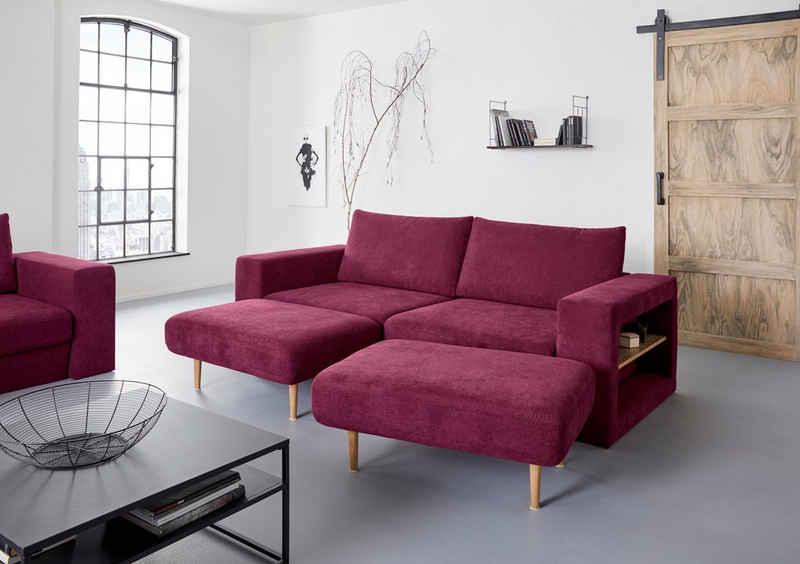 LOOKS by Wolfgang Joop 4-Sitzer »Looksvb«, Verwandlungssofa: aus Sofa wird Sofa mit 2 Hockern, mit Regalfunktion in beiden Armteilen
