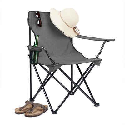 relaxdays Campingstuhl »Campingstuhl mit Getränkehalter«