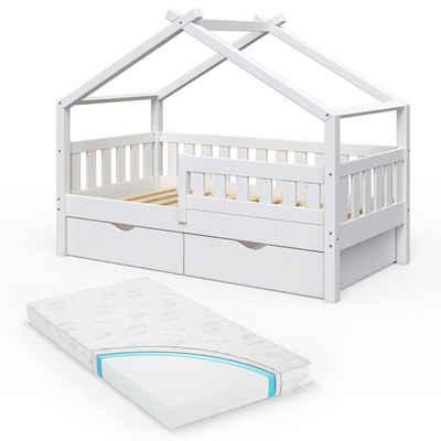VitaliSpa® Kinderbett »Design 160x80 Babybett Jugendbett 2 Schubladen Lattenrost Matratze«
