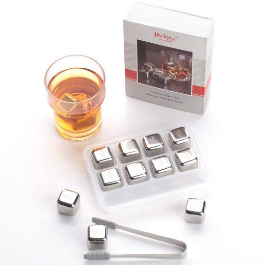 Plazotta Eiswürfelform Premium Edelstahl Eiswürfel 8er Set Whisky Kühlste