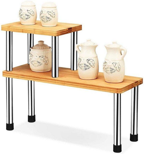 Küchenregale - COSTWAY Eckregal »2er Set Bambus Gewürzregal Rechteck«  - Onlineshop OTTO