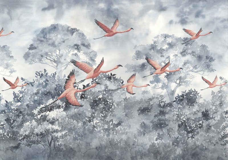 Komar Fototapete »Vliestapete Flamingos in the Sky«, glatt, bedruckt, geblümt, floral, realistisch, 400 x 280 cm