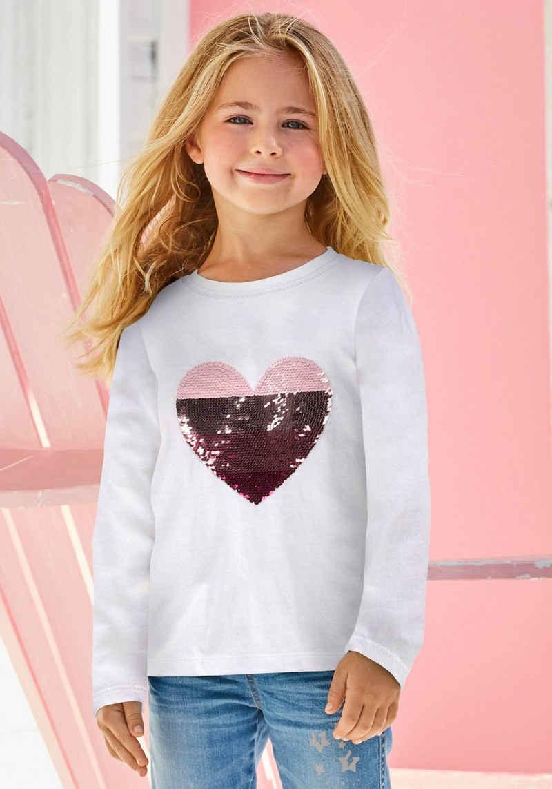 KIDSWORLD Paillettenshirt »Herz« mit Paillettenherz zum Wenden